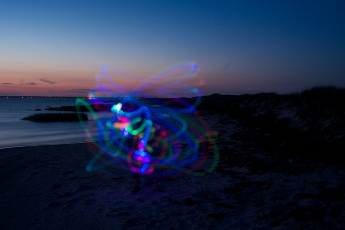 Poi balls post-sunset