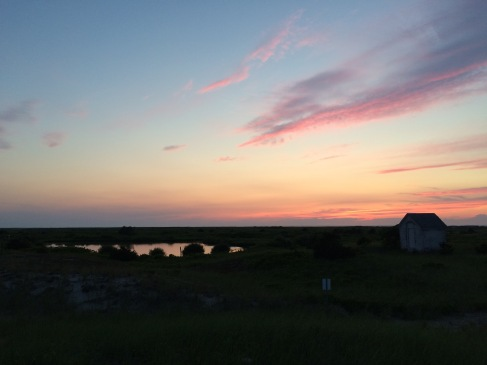 Sunset over Oil Shed and ponds.