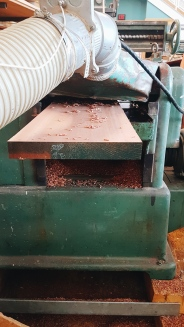Putting the sapele through the planer.