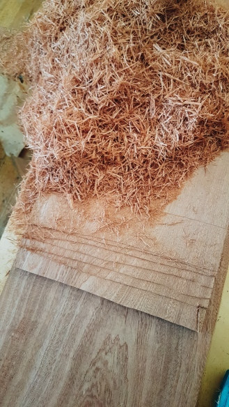 Continued cuts with the power planer.