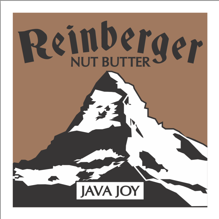 reinberger nut butter java joy label for coffee and chocolate nut butter