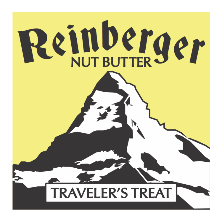 reinberger nut butter label for traveler's treat nut butter made with coconut banana and raisin