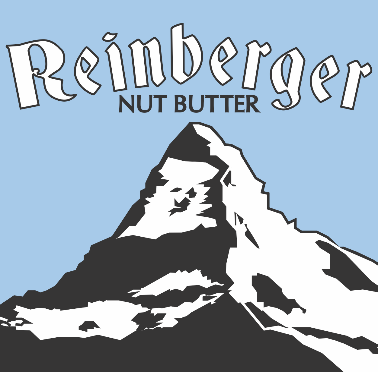 Reinberger Nut Butter original logo with lightly stylized mountain and complex text