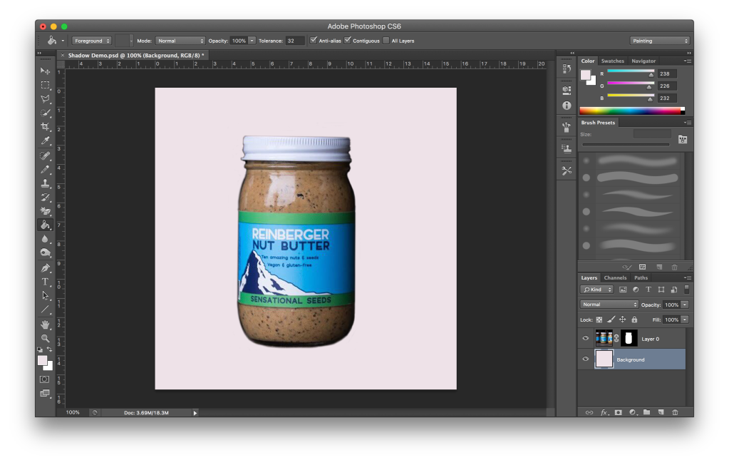 Isolated product image with a new background layer added.